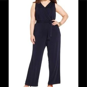 NY Collection Woman Jumpsuit Size 1X Navy Blue